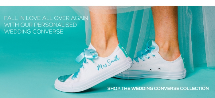 3daf8814edba Unique Bride   Groom Custom Converse - Wedding Converse
