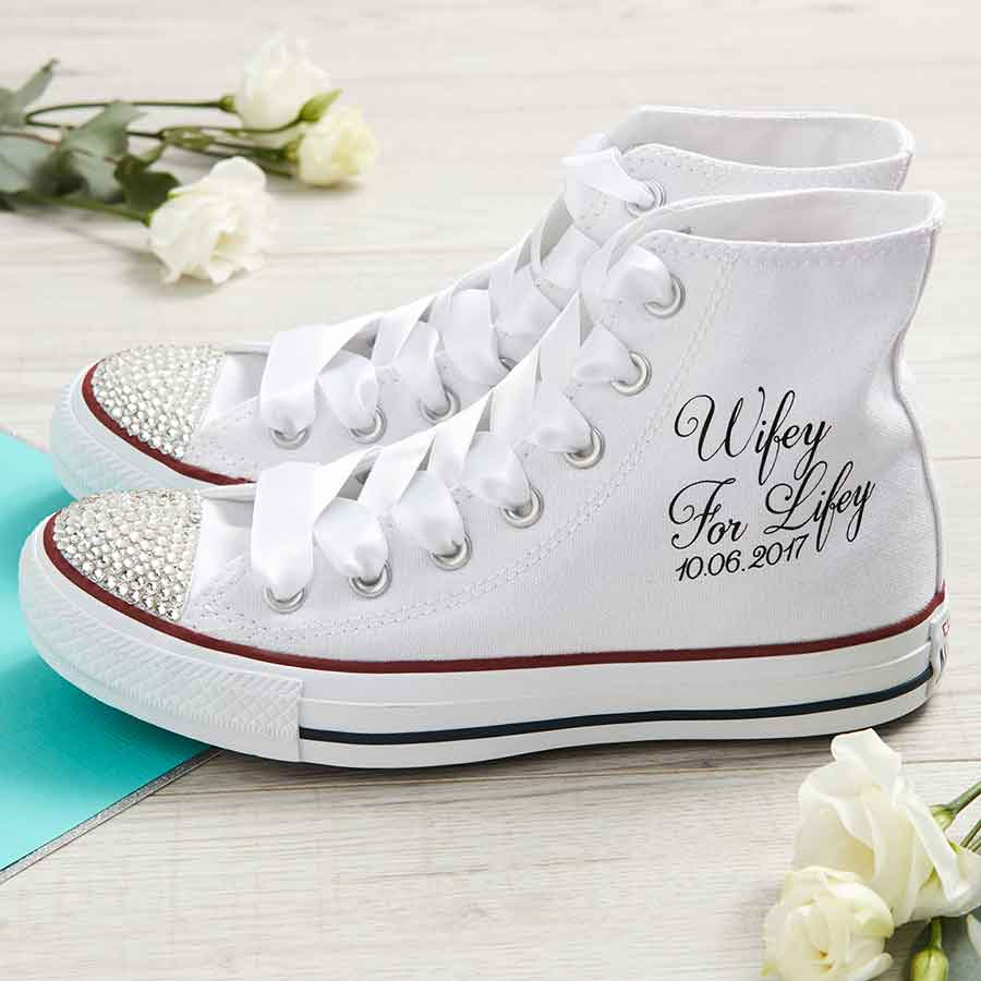 Wedding Converse: Wifey For Lifey Wedding Converse Shoes High Top/Date