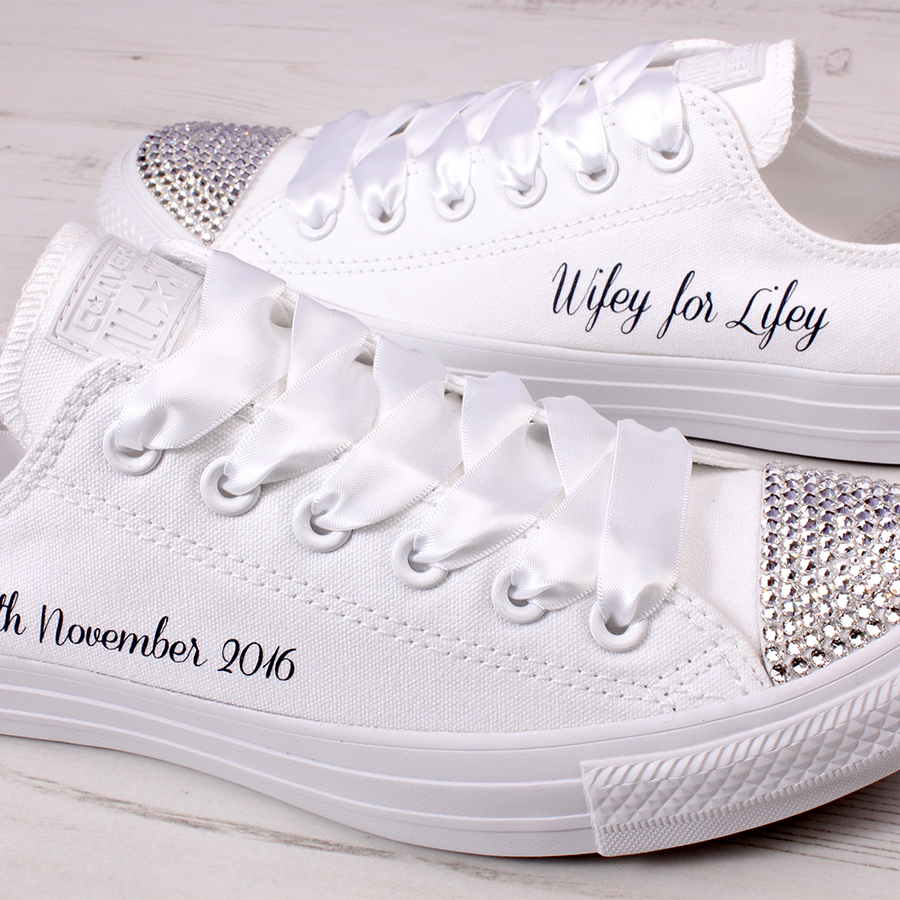 6668d539ab7f5c Wifey For Lifey Shoes. Personalised Wedding Shoes. Bling Bride Converse