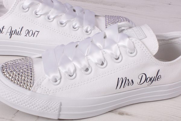 mono white converse wedding shoes