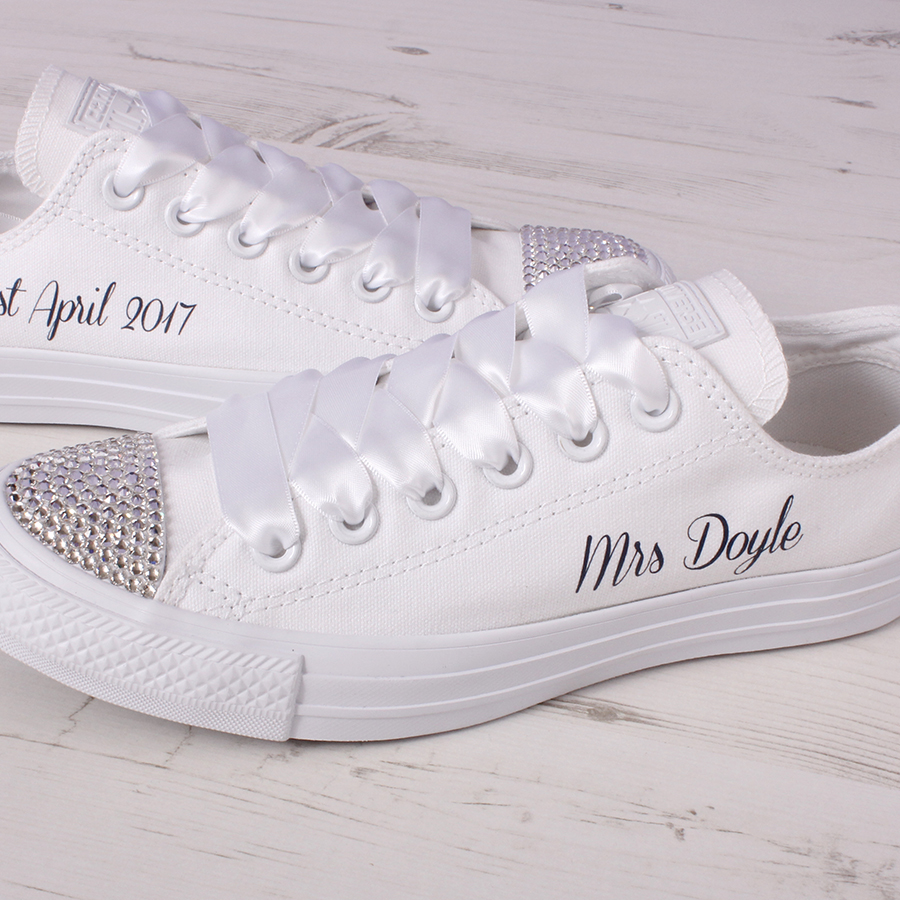 16d9fafbdec1 Custom Mono White Ox Converse Wedding Shoes with Swarovski Crystals ...