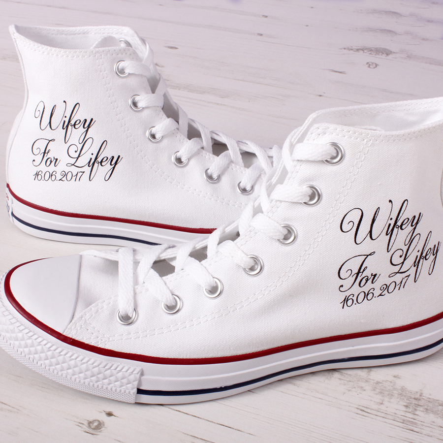 cbee8f9f0972 Customised Wifey For Lifey Hi Top Wedding Converse Shoes - Wedding ...