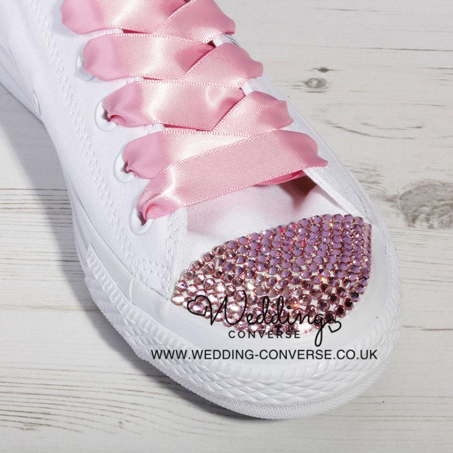 6a4e4b4b6a9e18 Pink Custom Crystal Converse l Swarovski