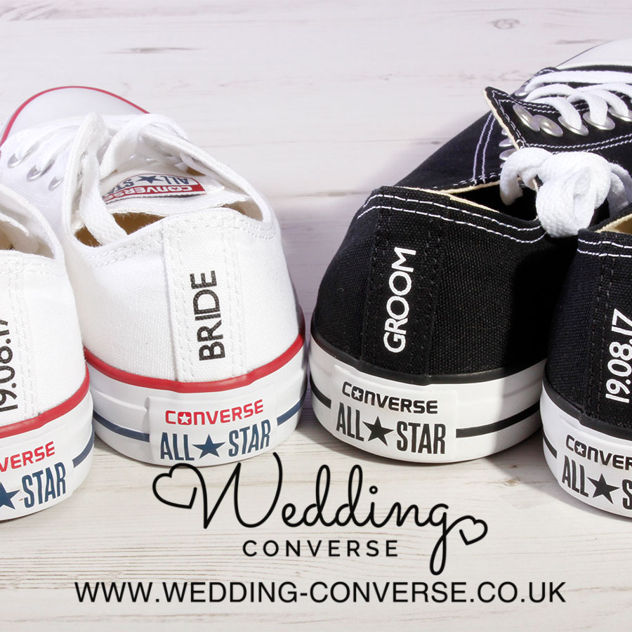 5b1907f907af Bride or Groom Custom Converse Heel Tag - Wedding Converse