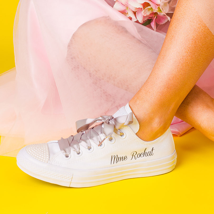 Flat Wedding Shoes Classic Vintage Pearl Converse Wedding Converse
