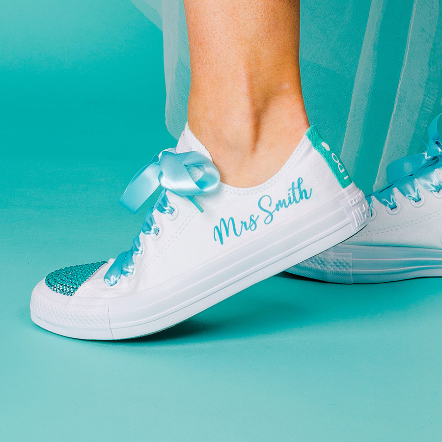 7be79f4357f1d Personalised Bridal Converse (Script) More Colours Available