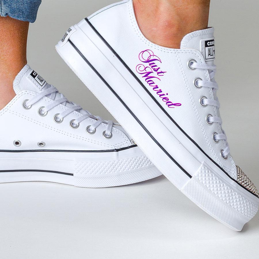 1bb2e34cb0f3 White Platform Converse l Wedding Converse   Custom Bridal Shoes
