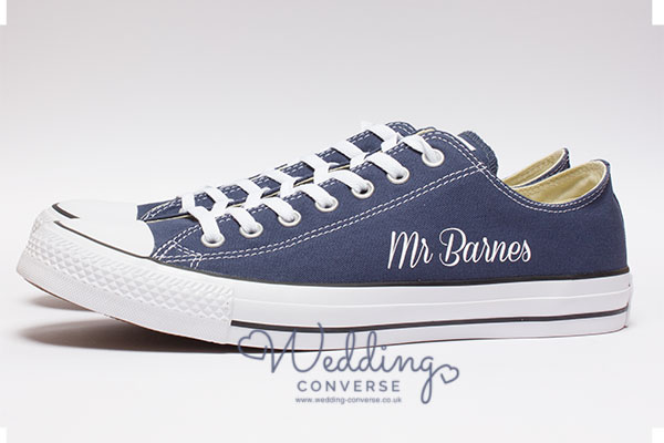 Navy Blue Converse with Groom