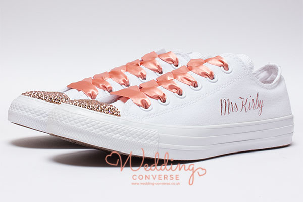 rose gold wedding trainers
