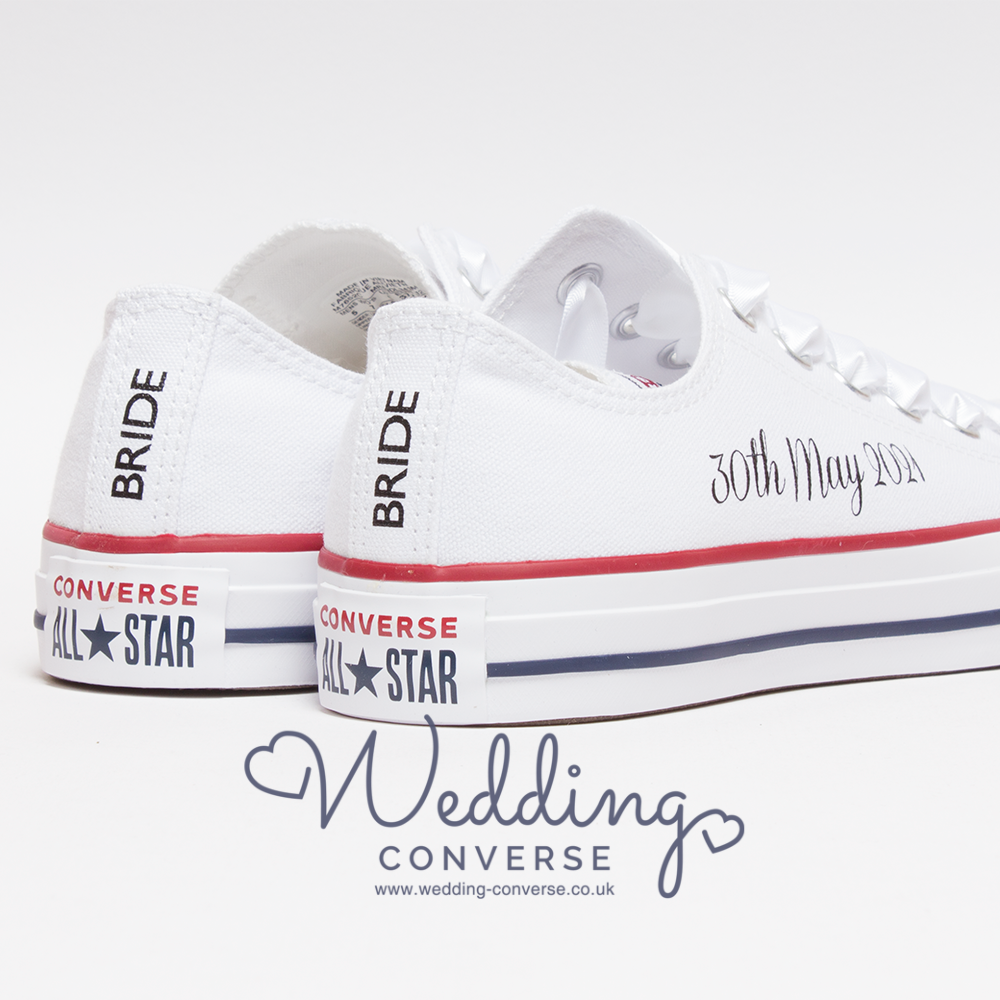 Converse customised with Bride on the heel tags