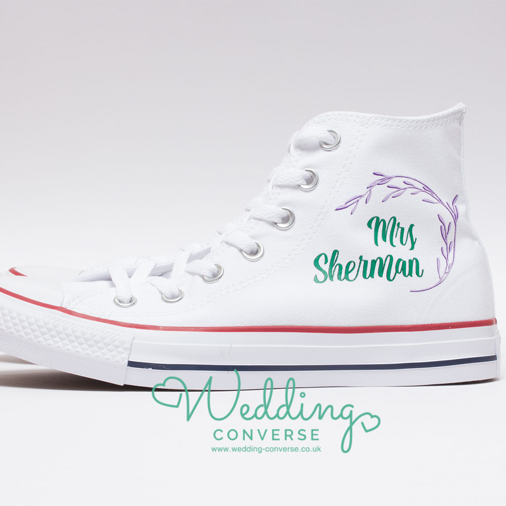 floral wreath bride wedding converse