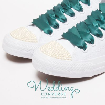zapatillas de boda de perlas