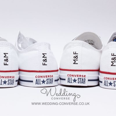 bride and groom in converse